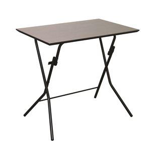 折りたたみテーブル 【幅75cm ダークブラウン×ブラック】 日本製 木製 スチールパイプ 『スタンドタッチテーブル755』