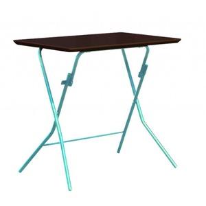 折りたたみテーブル 【幅75cm ダークブラウン×シルバー】 日本製 木製 スチールパイプ 『スタンドタッチテーブル755』