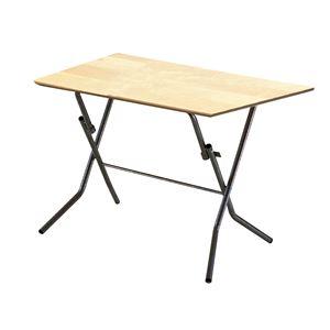 折りたたみテーブル 【幅90cm ナチュラル×ブラック】 日本製 木製 スチールパイプ 『スタンドタッチテーブル900』