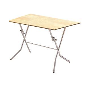 折りたたみテーブル 【幅90cm ナチュラル×シルバー】 日本製 木製 スチールパイプ 『スタンドタッチテーブル900』
