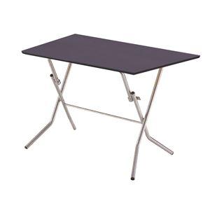 折りたたみテーブル【幅90cmダークブラウン×シルバー】日本製木製スチールパイプ『スタンドタッチテーブル900』