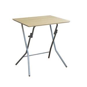 折りたたみテーブル 【幅63.5cm ナチュラル×シルバー】 日本製 木製 スチールパイプ 『スタンドタッチテーブル645』