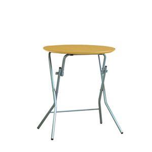 折りたたみテーブル 【幅63.5cm 円形 ナチュラル×シルバー】 日本製 木製 スチールパイプ 『スタンドタッチテーブル60』