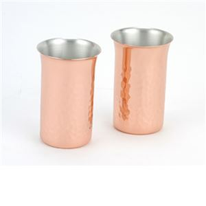 銅 ビアグラス ビアカップ 2個セット 小ぶり 純銅 槌目 一口ビール 2PCSセット 贈答品 ペアグラス【ASH-3041】