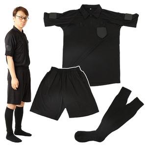 riohサッカー審判服L3点セット(半袖シャツ+ハーフパンツ+ソックス)レフリーウェアユニフォームブラック黒