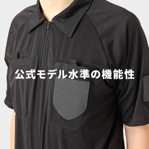 【2着セット】 rioh サッカー審判服 XL 3点セット(半袖シャツ + ハーフパンツ + ソックス)×2着 レフリーウェア ユニフォーム ブラック 黒