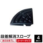 【4個セット】段差スロープ/段差プレート 【コーナー用 扇形 高さ5cm用】 ゴム製 衝撃吸収