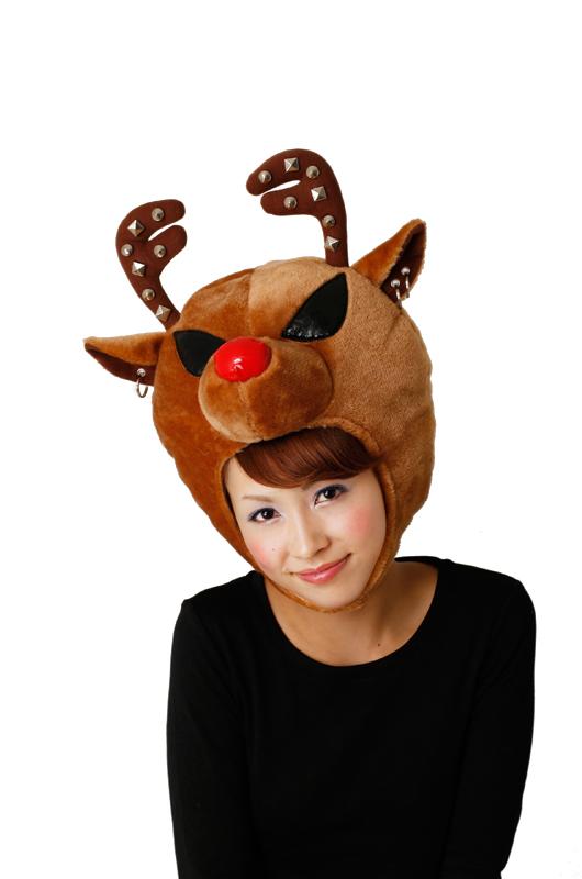 【クリスマス トナカイ コスプレ衣装】 ROCKトナカイヘッド(ブラウン)