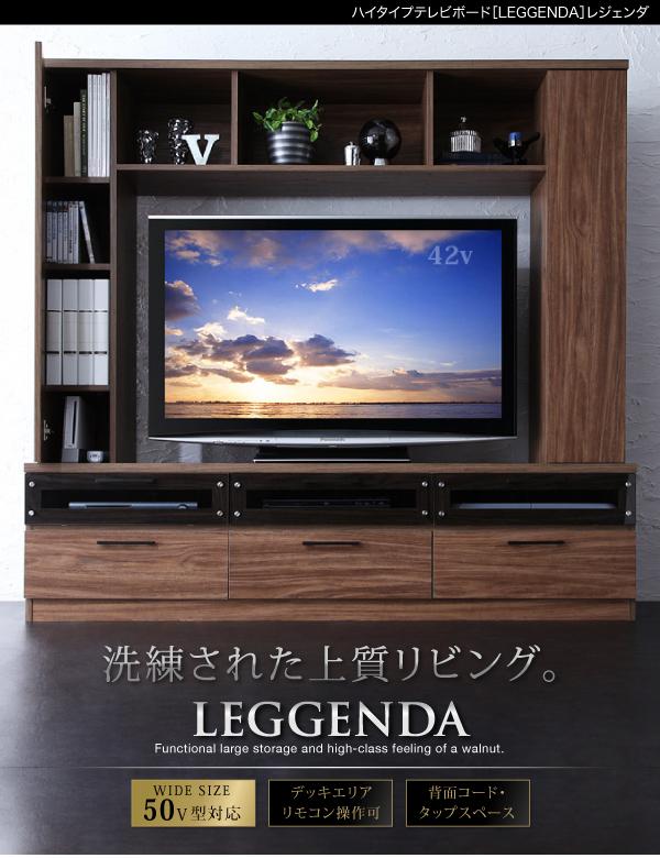モダンインテリア・ハイタイプテレビボード 【LEGGENDA】レジェンダ ウォルナットブラウン