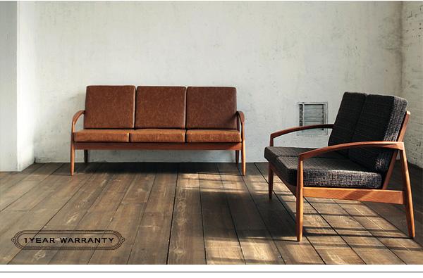 スタイリッシュな北欧デザインのファブリック木肘ソファ・ナンバーナイン