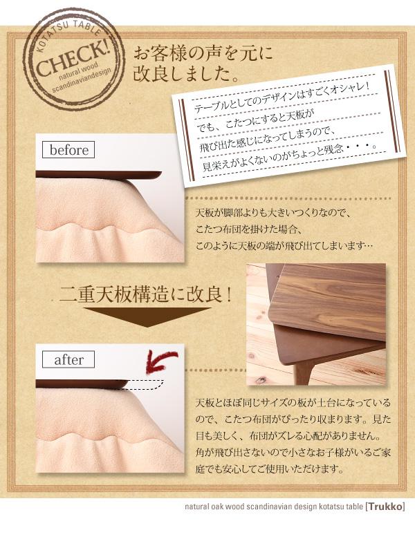 天然木オーク材 北欧デザインこたつテーブル 【Trukko】トルッコ/長方形(135×85) (カラー:オークナチュラル)