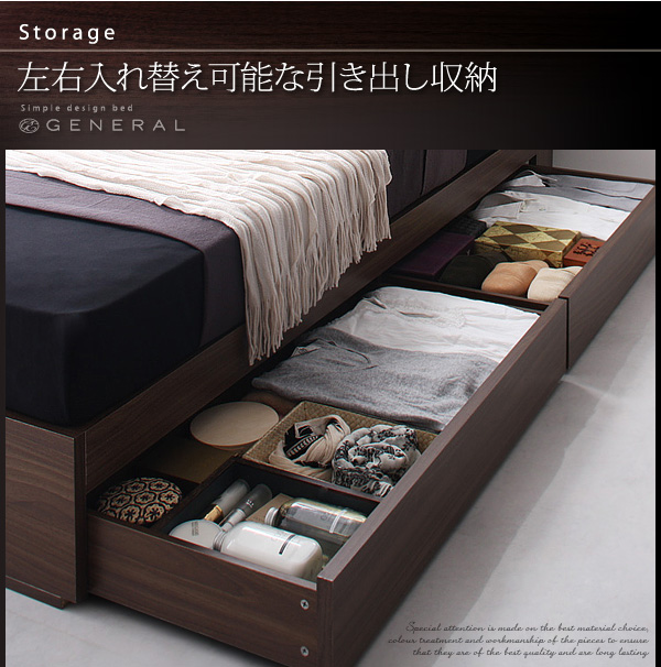 2万円で買えるベッド 左右入れ替え可能な引き出し収納