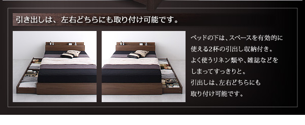2万円で買えるベッド ベッド下は、スペースを有効的に使える2杯の引き出し収納付き