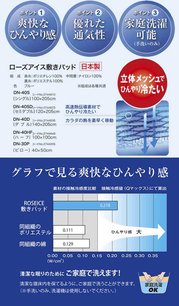 京都西川 ローズアイス敷きパッド(ダブル)DN-40D