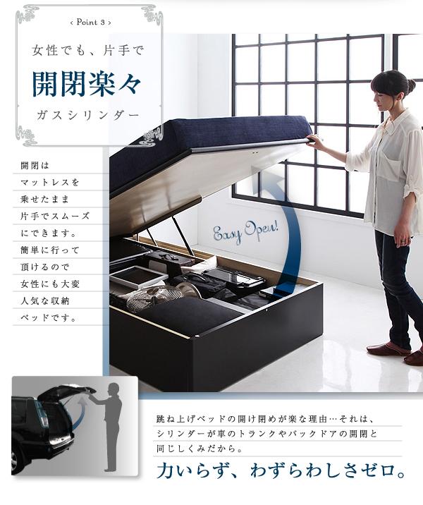 ガス圧式跳ね上げ収納ベッド【Kezia】ケザイア