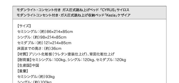 収納ベッド シングル ガス圧跳ね上げ式【Kezia】ケザイア
