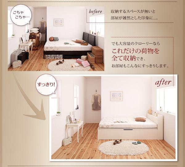 部屋の雑然としていた物は全てベッドの下に収納、お部屋もすっきり