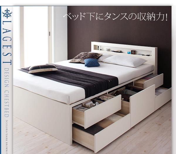 ベッド下にタンス1竿分の収納力のベッド