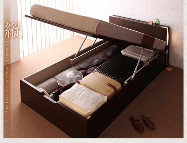 ガス圧で簡単に開閉ができる、収納ベッド