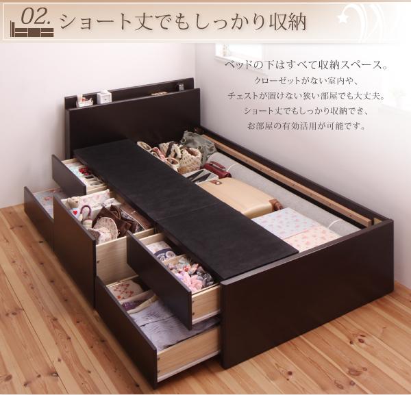 6万円で買える大きいベッド 収納ベッド・チェストベッド、棚・コンセント付き収納ベッド