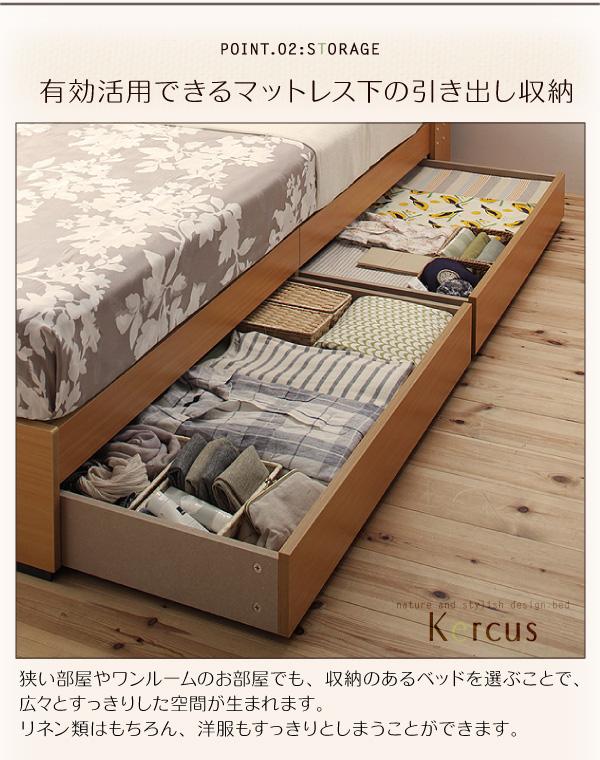 ワンルームのお部屋でも、収納ベッドを選ぶと、下着や洋服をベッドのしたにしまうことができます