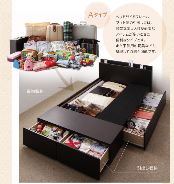 ベッド下が全て収納スペース、タンス並の収納力があります