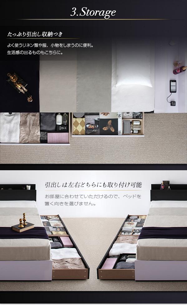 30000円のシングルベッド、ベッド下は引き出し収納が2杯付いて、リネン類などをしまうことができます