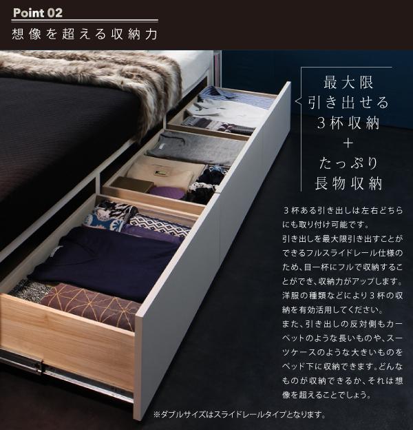 11万円で買えるクイーン・キングベッド、ベッド下は引き出し収納が2杯付いて、リネン類などをしまうことができます