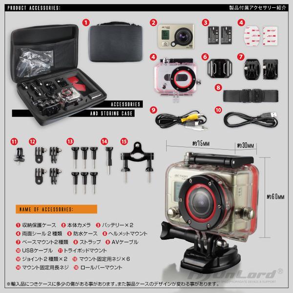 【ウェアラブルカメラ】【スポーツカム】【アクションカム】GoPro(ゴープロ)クラス 1080P 最大60fps WiFi機能