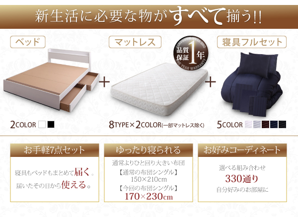 収納ベッド+マットレス+寝具フルセット、これから新しい生活を始める人にオススメ