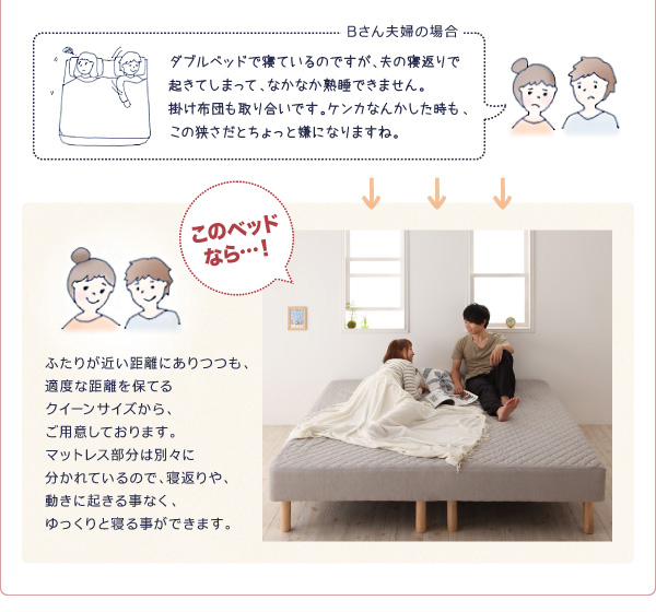 ベッドのつなぎ目も気にならない、パット一体型BOXシーツ付き