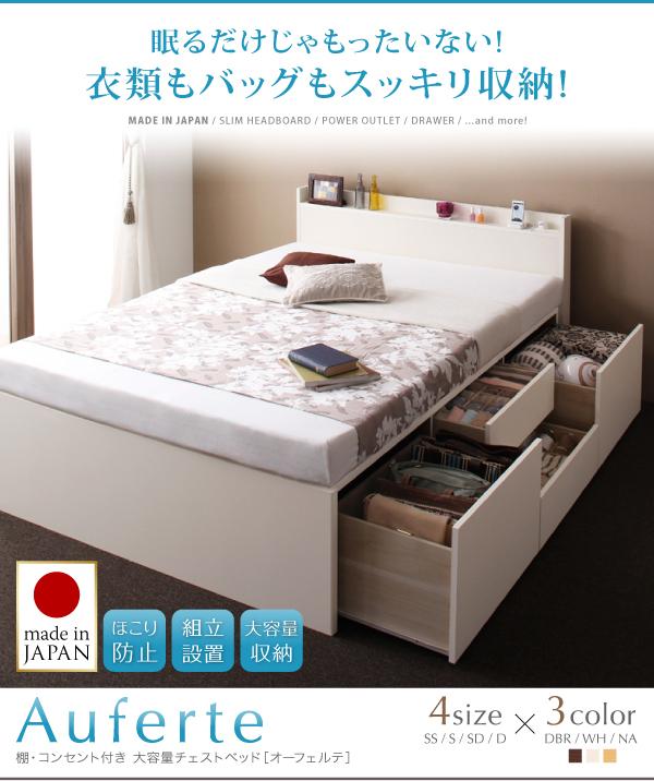 狭い部屋に最適、ベッドの下に衣類もバッグも全部収納できるベッド