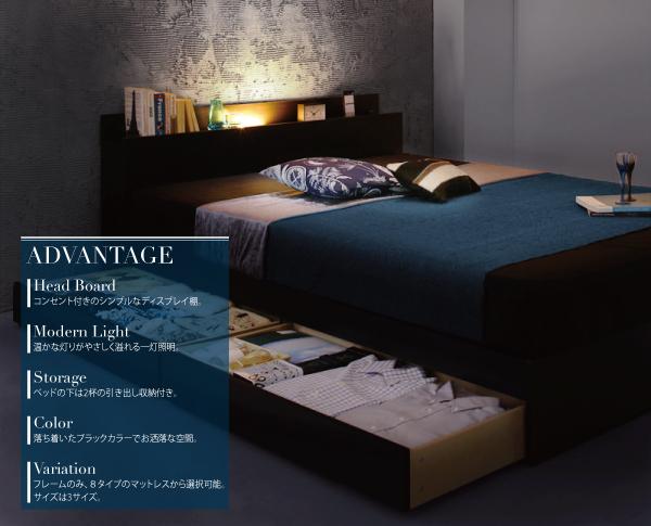 6万円で買える大きいベッド 収納ベッド・チェストベッド、スペースを有効的に使える2杯の引き出し収納付き、左右どちらにも取付可能