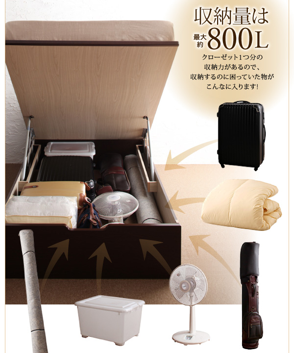 11万円で買えるダブルベッド、クローゼット1つ分の収納力があるので、収納するのに困っていた物が全て入ります