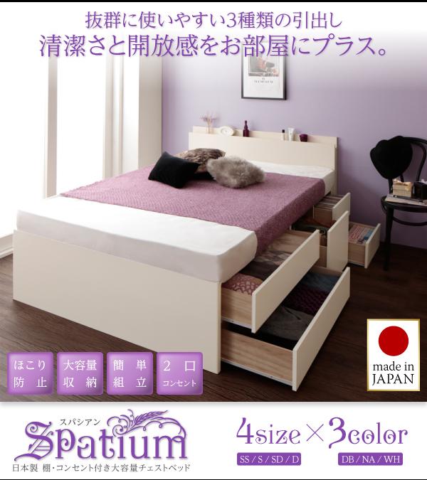 7万円で買えるセミダブルベッド 大きな場所をとるベッドのスペースを有効利用、収納スペースに活用