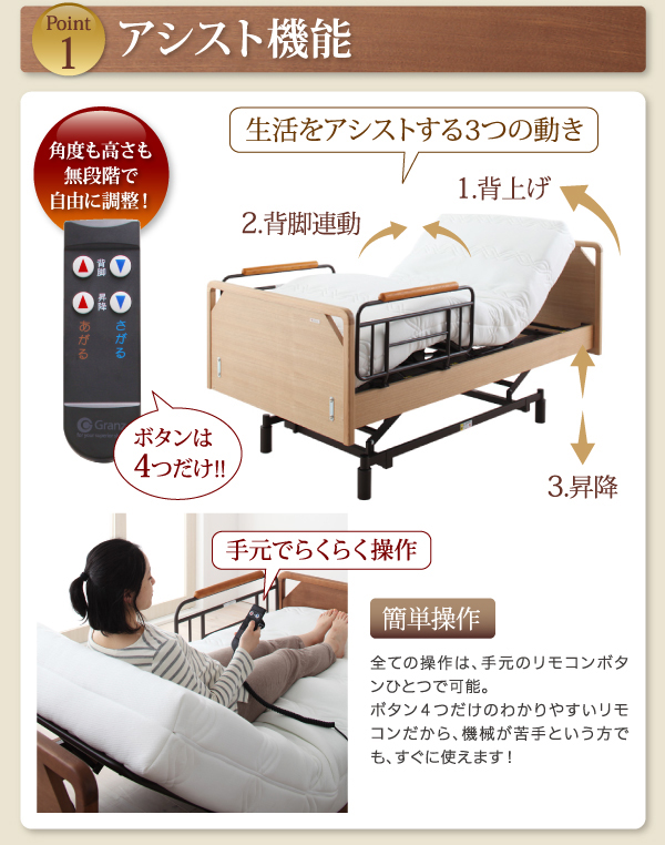 信頼のドイツリモス社製モーター採用した電動ベッド