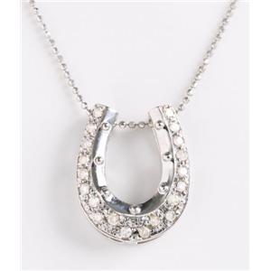 【在庫処分特価】ROSSONA ダイヤモンドコレクション 0.3ct天然ダイヤ20石ペンダント(Heart Boxつき) Happy Hourse Shoe - 拡大画像