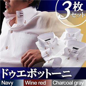 カラーステッチ ドゥエボットーニボタンダウンシャツ3枚セット ホワイト M - 拡大画像