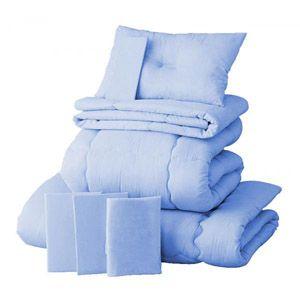 【ベッド専用】20色羽根布団8点セット【ベッドタイプ】ダブル パウダーブルー - 拡大画像