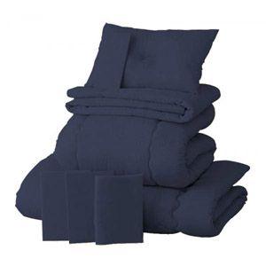 【ベッド専用】新20色羽根布団8点セット【ベッドタイプ】シングル ミッドナイトブルー - 拡大画像