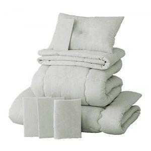 【ベッド専用】新20色羽根布団8点セット【ベッドタイプ】セミダブル シルバーアッシュ - 拡大画像