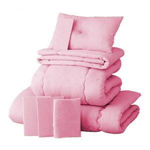 【ベッド専用】新20色羽根布団8点セット【ベッドタイプ】セミダブル フレッシュピンク - 拡大画像