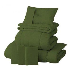 【ベッド専用】新20色羽根布団8点セット【ベッドタイプ】セミダブル オリーブグリーン - 拡大画像