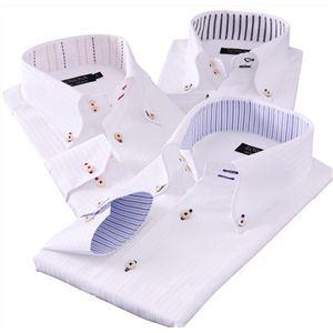 ワイシャツ3枚セット L カラーステッチボタンダウン ドゥエボットーニ チラ見せシャツ3枚セット - 拡大画像