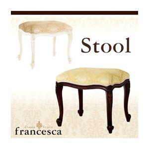 スツール【francesca】ホワイト アンティーク調クラシック家具シリーズ【francesca】フランチェスカ:スツール - 拡大画像
