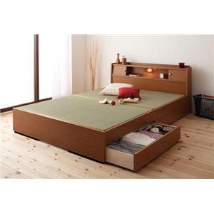 収納ベッド ダブル ライトブラウン 照明・棚付き畳収納ベッド【月下】Gekka
