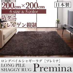 ラグマット 200×200cm【Premina】グレー ロングパイルシャギーラグ【Premina】プレミナ - 拡大画像