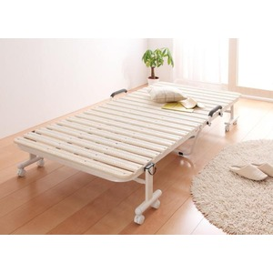 すのこベッド シングル【Neo Clean】アイボリー 折りたたみ式抗菌樹脂すのこベッド【Neo Clean】ネオ・クリーン - 拡大画像