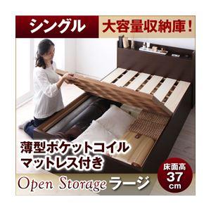 すのこベッド シングル【Open Storage】【薄型ポケットコイルマットレス付き】 ダークブラウン シンプルデザイン大容量収納庫付きすのこベッド【Open Storage】オープンストレージ・ラージ - 拡大画像