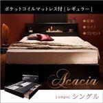 収納ベッド シングル【Acacia】【ポケットコイルマットレス(レギュラー)付き】 カラー:ブラック マットレスカラー:ブラック モダンライト・コンセント付き収納ベッド【Acacia】アケーシア